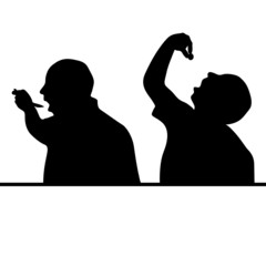 man eat silhouette