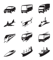Road, sea and space transportation icons set