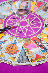 Tarot cards with the crystal ball and magic wand (2).