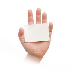 hand mit weißer karte