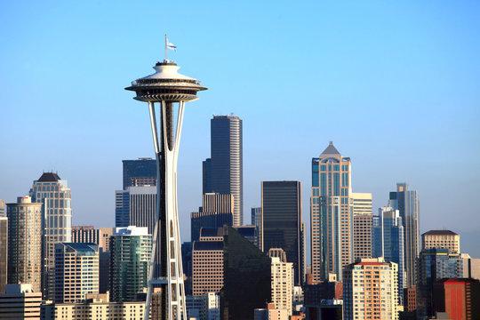 Seattle Skyline at sunset, Washington state.