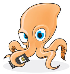 Octopus holding a cell phone