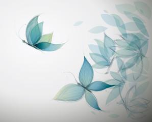 Azure Flowers like Butterflies / Surreal sketch