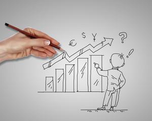 Financial charts representing growth