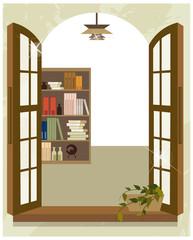 Bookshelf from window