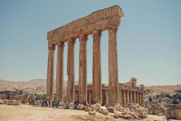 Jupiter's temple ancient Roman columns, Baalbek, Lebanon