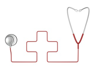 Stethoscope and red cross symbol of medicine on white background