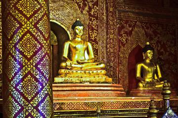 Old gold Buddha in chiangmai