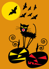 Halloween background with pumpkins, bats and cat
