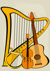 Violin, quitar, lyre, harp and notes
