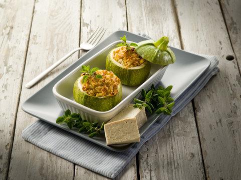 Zucchinis stuffed with tofu cheese, vegetarian food