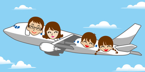 Papiers peints Avion, ballon Family travel by airplane