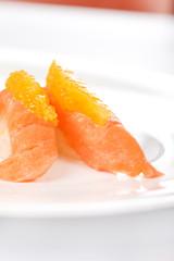 salmon nigiri with orange