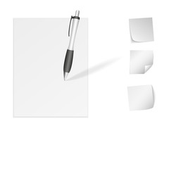 paper with a pen and stickers isolated on a white background