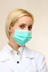 Close-up portrait of serious nurse or doctor