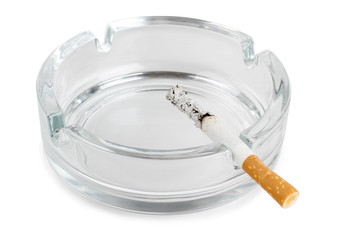 Ashtray glass and cigarette
