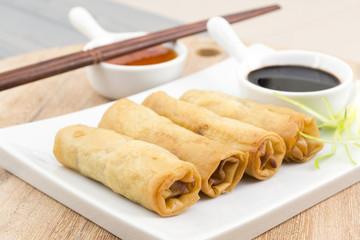 Fototapeta Spring Rolls - Fried duck spring rolls, soy & sweet chili sauce obraz