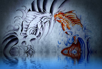 Japanese carp tattoo on blue wall with water reflections