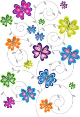 gradient color butterflies and floral motive isolated