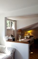 interior apartment, small loft furnished, living room
