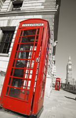 Wall Murals Red, black, white Big Ben and Red Telephone Booth