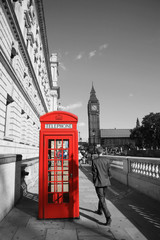 Papiers peints Rouge, noir, blanc Big Ben and Red Telephone Booth