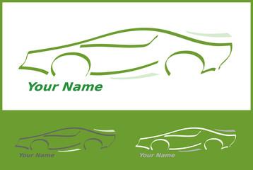 Icone Voiture Automobile en Vert pour Design Logo