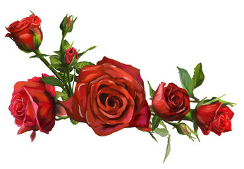 Decorations of red roses blooms