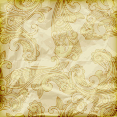 vector seamless paisley pattern  on crumpled golden foil texture