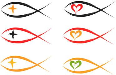 set of christian fish symbols