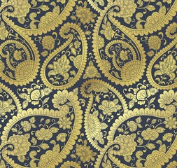 traditional paisley floral pattern , textile , royal India