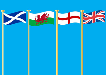 The Flags of Scotland Wales Saint George and the Union Jack