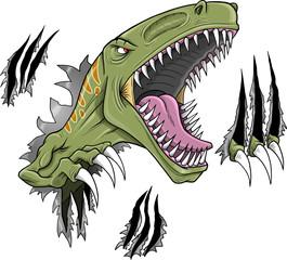 Wall Murals Cartoon draw Velociraptor Dinosaur Vector Illustration
