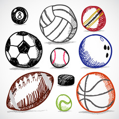 Ball Sport Doodles Vector illustration on White Background