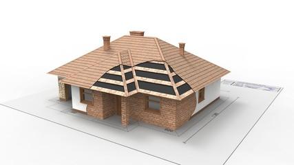 Fototapeta trójwymiarowy model domu w budowie obraz
