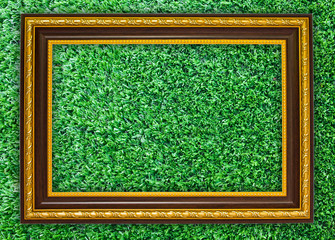 wooden frame on the artificial turf