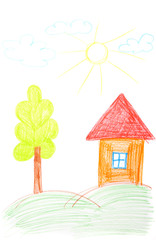 Children's drawing of house