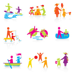 Set of Icons - Summer Time - Silhouette family. woman, man, kid,