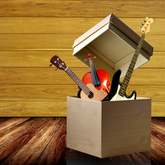 Instrument box with wooden background