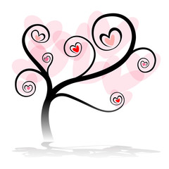 love tree with heart leaf on white background