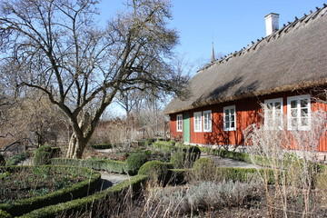 Old typical swedish house in Skansen, Stockholm, Sweden