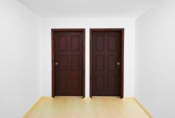 Decision time concept: Room with two doors, each one is a differ