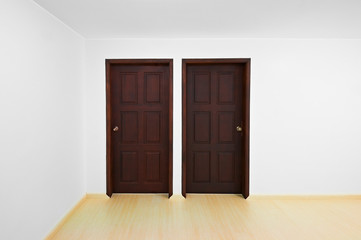 Decision time concept: Room with two doors, each one is a diffe