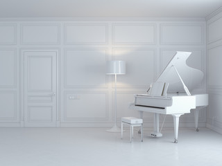 white piano in a white interior
