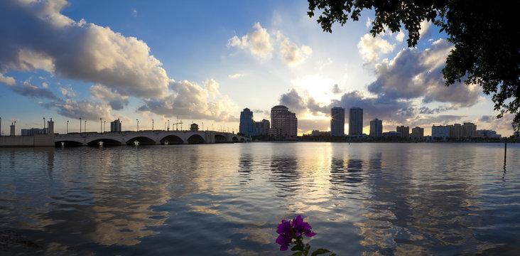 City West Palm Beach at sunset