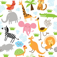 Foto auf Acrylglas Zoo seamless pattern with cute animals