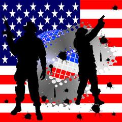 Foto op Canvas Militair Soldatensilhouetten vor amerikanischer Flagge