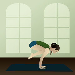 Young woman practicing yoga Bakasana in room