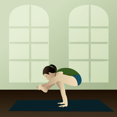 Young woman practicing yoga Bhujapidasana in room