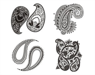 traditional paisley floral designs, textile, Rajasthan, India